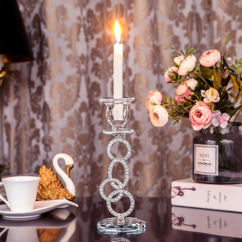 Silver Crystal Tealight Candle Holder Coffee Dining Table Wedding Christmas Halloween Home Decoration Factory Direct Sale CH020