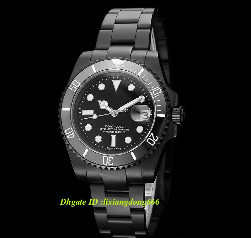 2019 best selling todo preto dial moldura de aço inoxidável 40 mm safira vidro espelho automático dos homens mecânicos dos homens relógio
