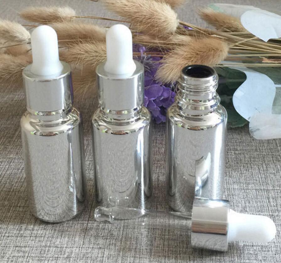 new 100pcs empty 15ml silver glass essential oil dropper bottle for e liquid fahsion
