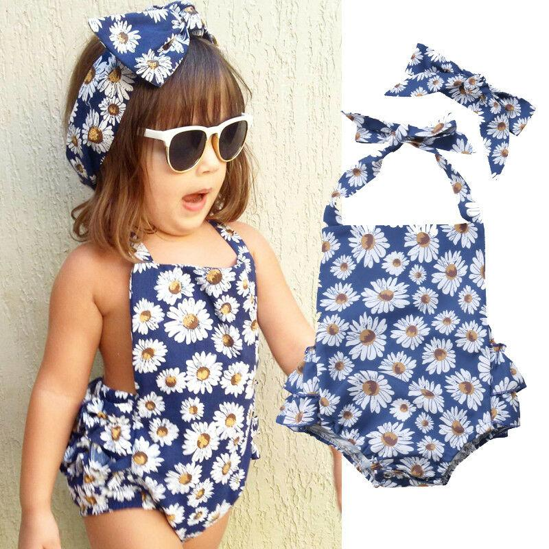 Newly 2019 Fashion Sleeveless Floral Baby Rompers with Headband for Girls Summer Jumpsuits for Kids