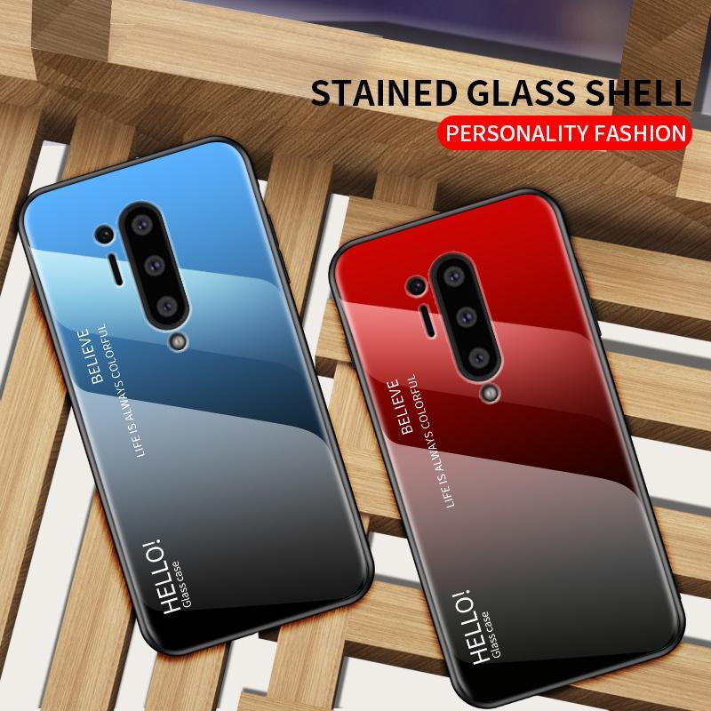 Anti-rayures Gradient couverture couleur en verre trempé Téléphone cas pour OnePlus 8 Pro 7 Pro 7T 6T 6 5T 5 One Plus Nord