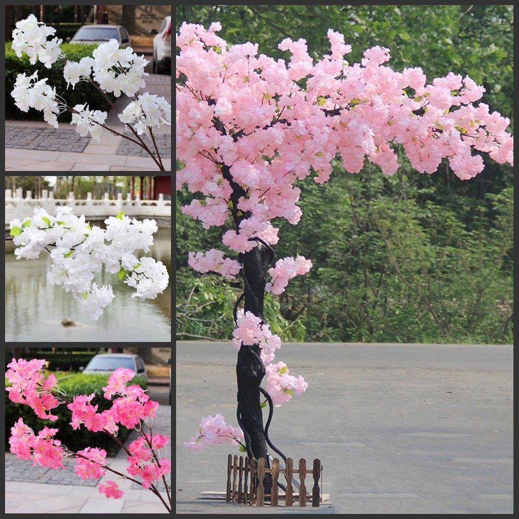 الزهور 100CM الحرير طويل الساق ساكورا الاصطناعي زهرة الوردي الزفاف الديكور الكرز فرع زهر لديكور المنزل زفاف القوس