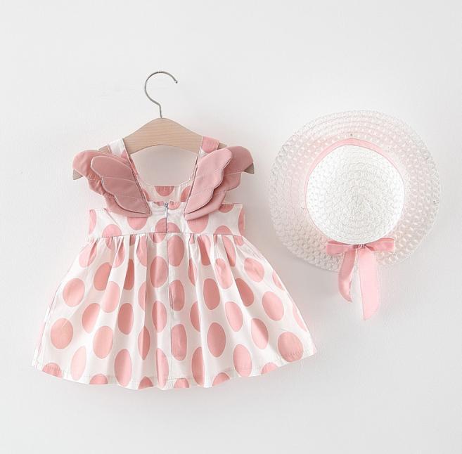Verano vestido de niña con el sombrero impresión del modelo de limón cumpleaños dibujos animados vestido femenino del bebé ropa de verano para niños ropa de la muchacha