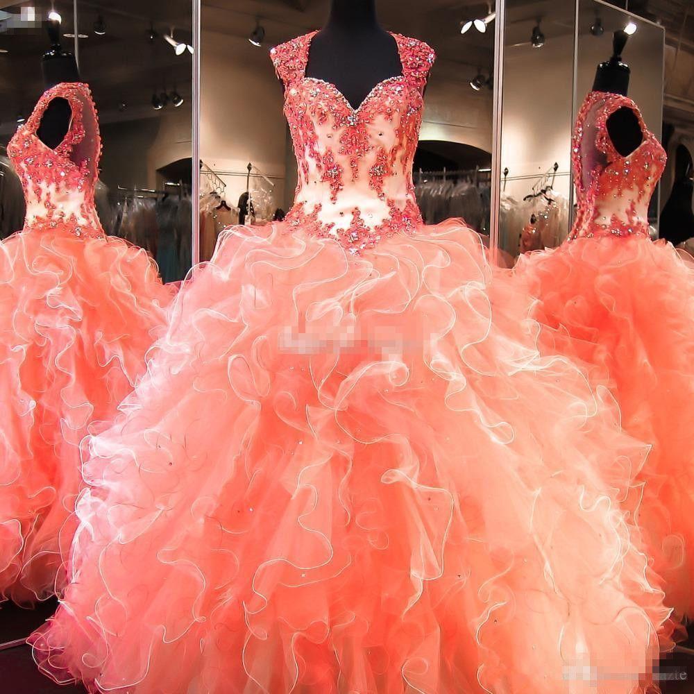 Korallen Quinceanera Kleider 2019 Vestidos De 15 Anos Ballkleid Perlen Rüschen Organza Puffy Formal Plus Size Sweet 16 Kleid
