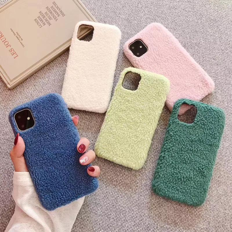 Home Winter Warm Blue Pink Fabric Plush Phone Case for iPhone 6s 7 8 Plus X XR XS Max Covers for iPhone 11 Pro Max Cases