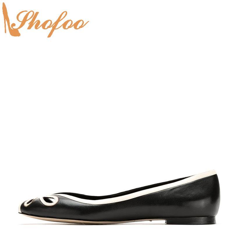 Черный Белый Балетки Женщина Открыть Круглый Носок Полые Граничит Обувь Большой Размер 12 15 Дамы Летняя Мода Офис Зрелые Shofoo