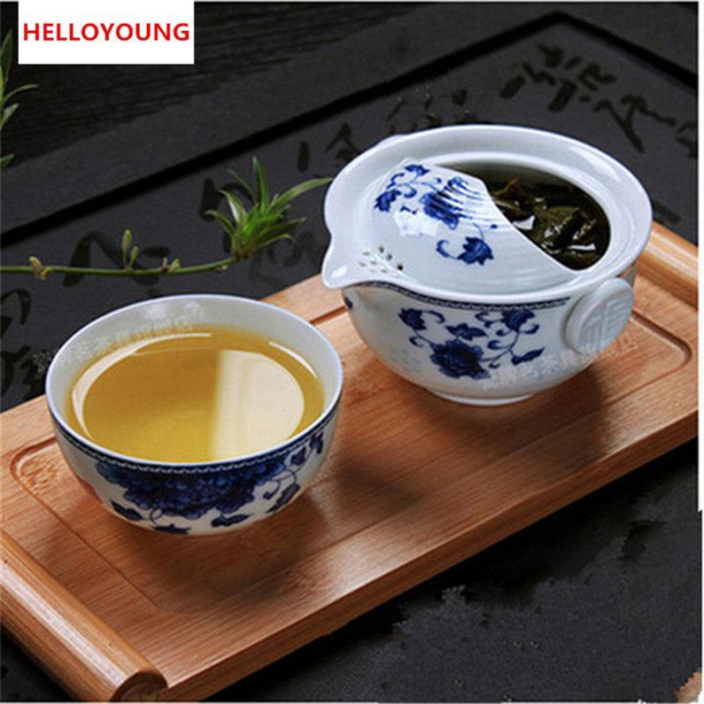 Seramik çay seti dahil 1 Pot 1 fincan zarif Gaiwan güzel ve kolay demlik su ısıtıcısı mavi ve beyaz porselen demlik Sıcak Satış