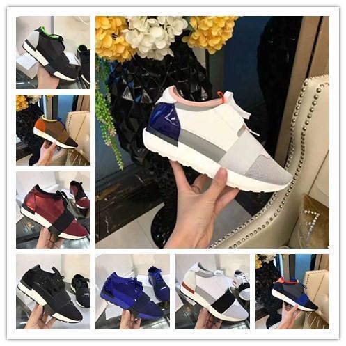 2019New Черная кожа ткань кроссовки Дизайнерские Top Quality Low Top ботинки женщин вскользь Kanye West Style Race Runner сетки дышащий Flats x1