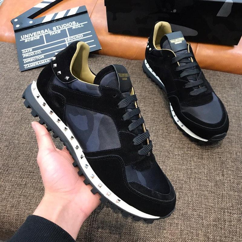 alta calidad 19Valentinos GARAVANIss mens zapatos del diseñador Camo Rockrunner zapatillas de deporte negras en los zapatos de los hombres
