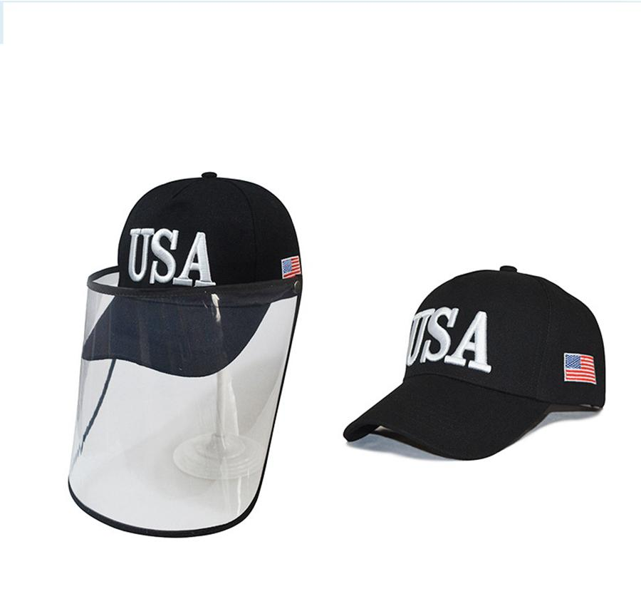 Trump Cap Máscara EE.UU. bandera 3D del sombrero del bordado de béisbol al aire libre desprendible transparentes máscaras de protección sombrero Cara escudo LJJA4044