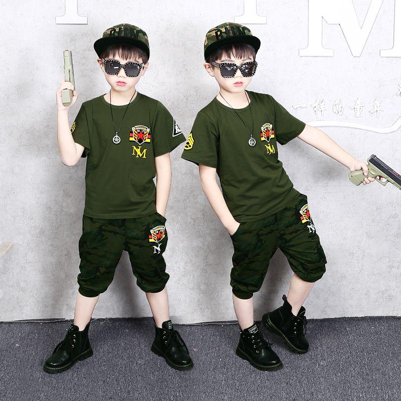 Детская одежда Мальчик с короткими рукавами вокруг шеи рубашки Летний лагерь Одежда Девочки Камуфляж Военная форма футболки шорты Set 2 шт