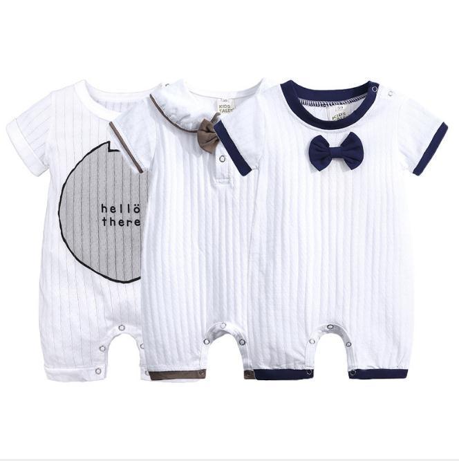 Baby Boy Abbigliamento Estate Manica corta Tuta monopezzo con fiocco Tutina neonato Abiti gentiluomo Cotone Vestiti neonato Vestiti a maglia Pagliaccetti