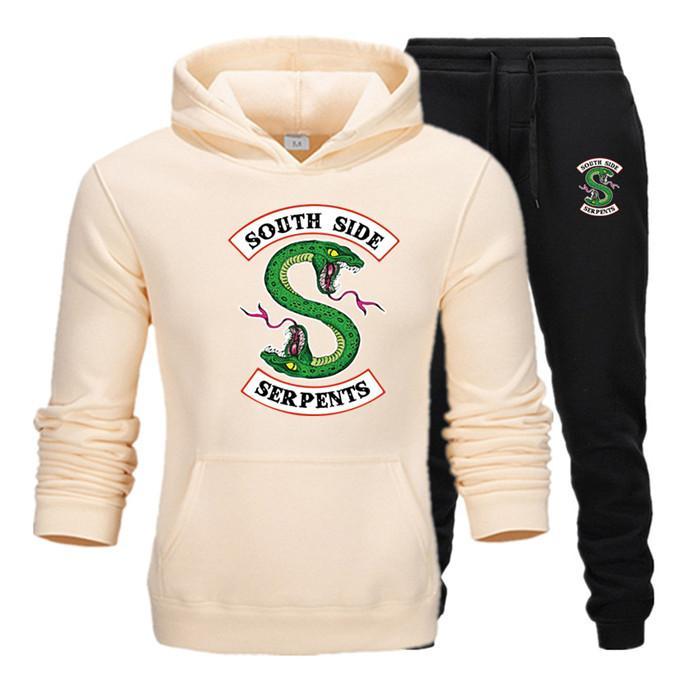 2019 Yeni eşofman erkek İki Adet Kapüşonlular + Pantolon eşofman TT8 koşu / Kış Riverdale Hoodies Sweatshirt Suit Erkek Güz