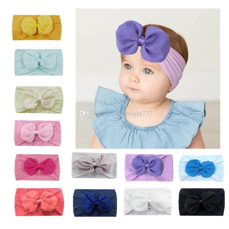Baby Girl Headband de Nylon com Arco Chiffon Infantil Cor Sólida hairband Macio Acessórios Para o Cabelo 12 Cores escolher
