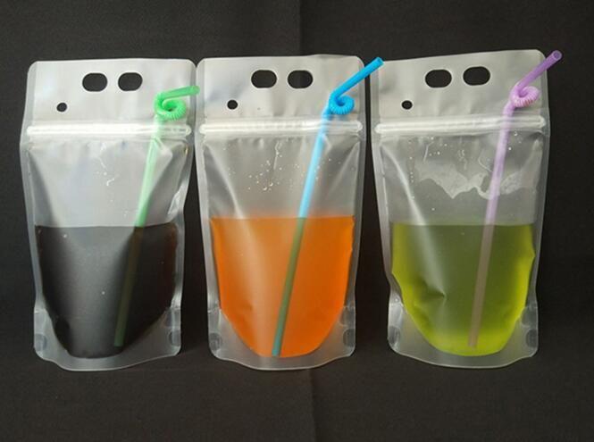 180pcs 450ml Sacchetto di bevande di plastica auto-sigillato trasparente Fai da te bere latte contenitore di caffè sacchetto di frutta Sacchetto di immagazzinaggio di cibo