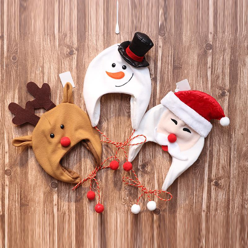 Christmas hat decoration adult children brushed cloth long rope cartoon snowman elk hat