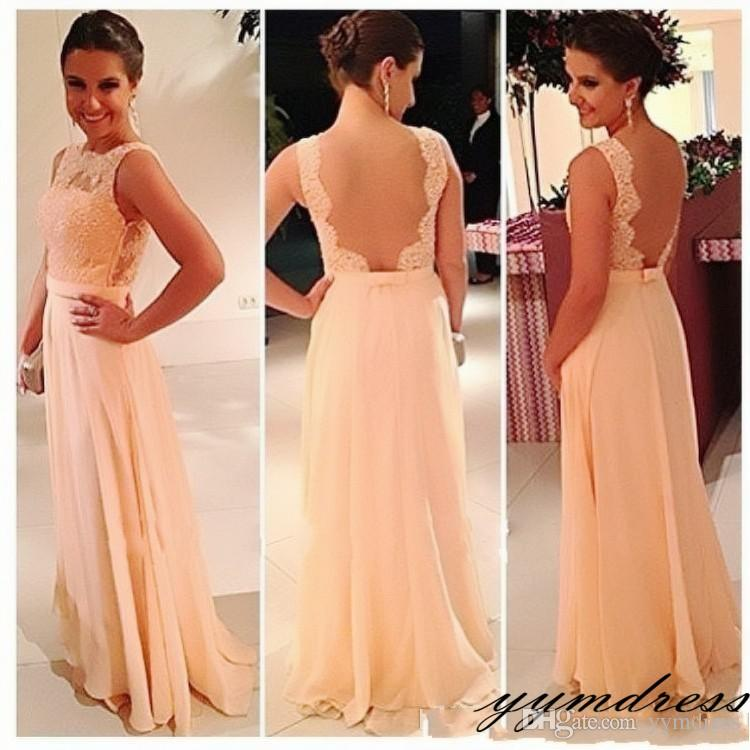 Nude Pink Design Chiffon Lace Long Peach Color Bridesmaid Dress Party Dress 2019 Prom Vestidos Bridesmaid Dresses Canada Online Bridesmaid Dresses