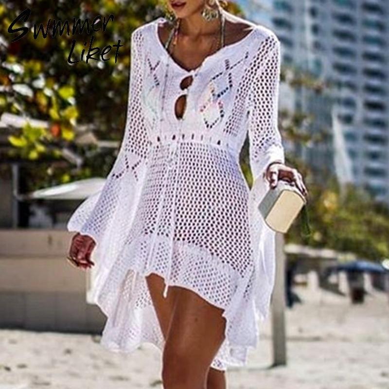 Neue Art und Weise gestrickte Tunika-Kleid Frauen Weiß Badeanzug Covre-ups höhlen heraus Strand Vertuschung Rock Sommer 2019 Strand Sarong de plage