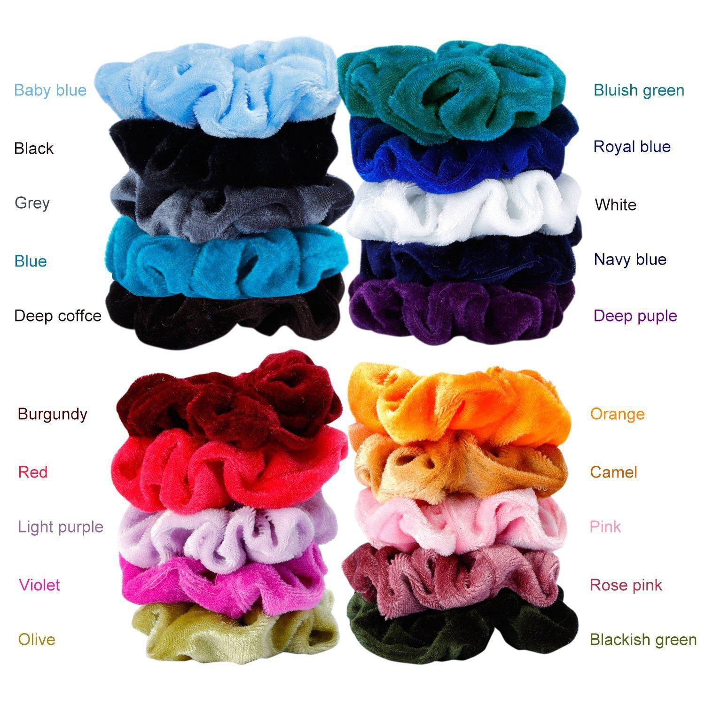 20 Farben / Los Frauen Haarbänder Pferdeschwanz Halter Samt Haargummis Krawatte Haar Gummiband Stirnband Haarschmuck