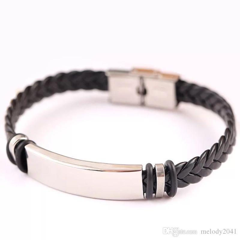Экспорт PU кожаный манжеты вязание веревочки браслеты титановый сталь браслет из нержавеющих мужчин черный панк браслет ручной орнамент