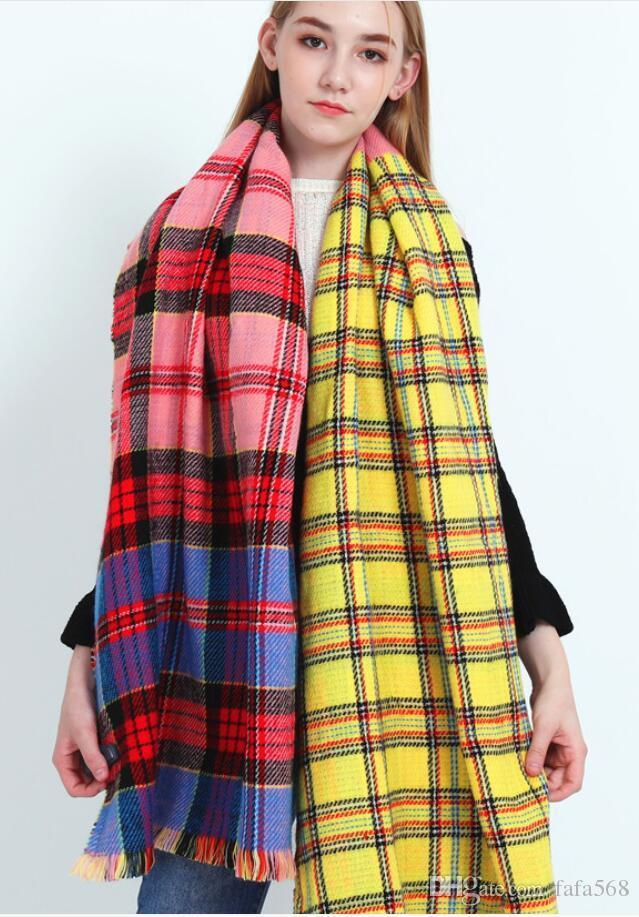 color de otoño 2020 y la nueva bufanda de invierno de doble cara a cuadros imitación de cachemir color hembra coincidente bufanda caliente de la moda chal