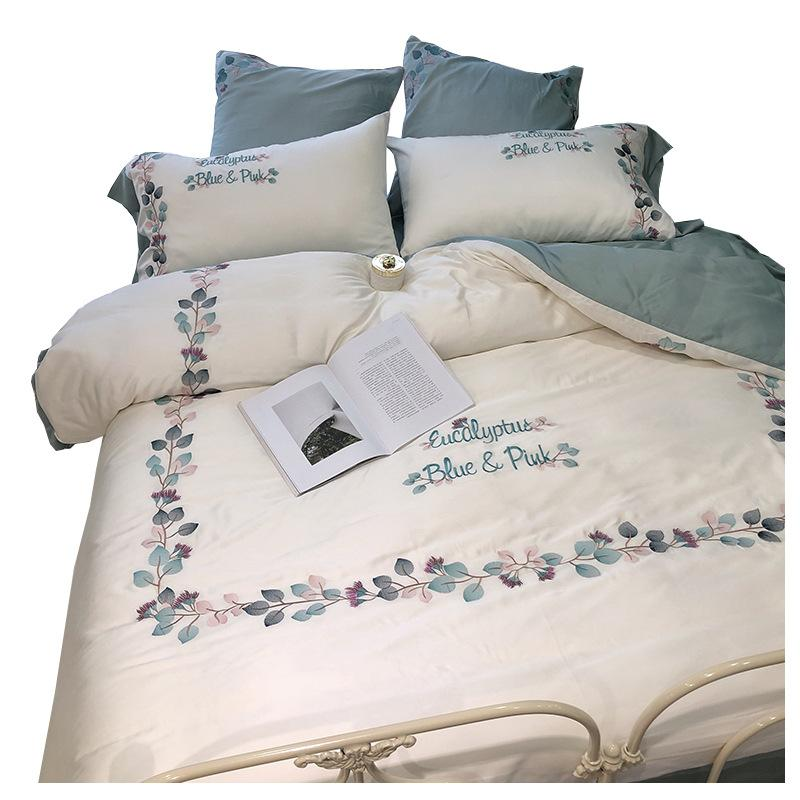Modern Pastoral 60s Tencel Embroidery DuvetCover Sets Queen Size Silk LUXURY Bedding Sets White Floral BedSheet Pillowcase &Duvet Cover Sets