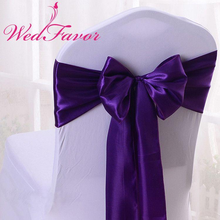 WedFavor 100pcs Qualitäts-dunkle purpurroten Satin-Stuhl-Schärpen Hochzeit Satin-Stuhl-Bogen-Krawatten für Ereignis-Party-Hotel-Dekoration