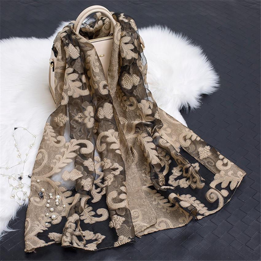 Di lusso 2020 delle donne di marca Plain Ricama floreale Organza sciarpe di seta chiffon di silenziatore musulmano Hijab Sciarpe Sunscreen Wrap sciarpa T200407