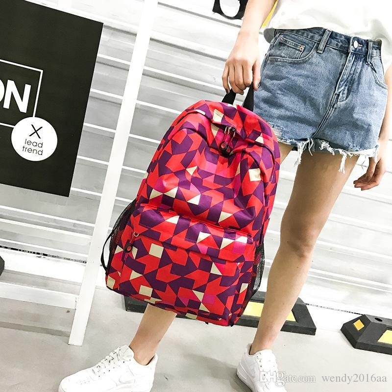 Nuovi zaini Versione coreana di zaino con pannelli in stile zainetto di nylon con motivi geometrici alla moda e grande capacità