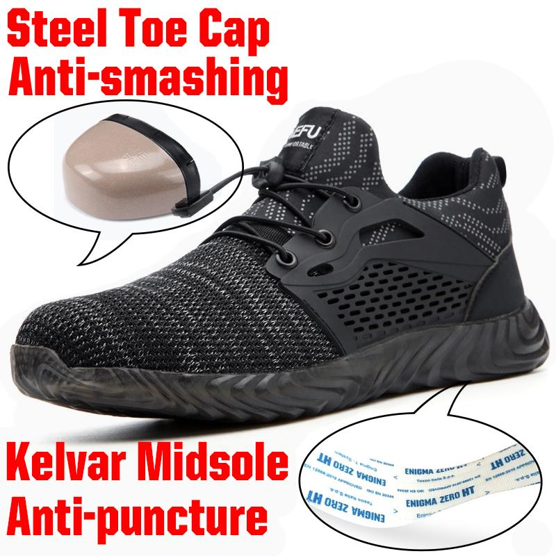 Sonbahar İş Ayakkabıları Sneakers Güvenliği Çizme İçin Erkekler Çelik Burun Hafif Yok edilemez Ryder Ayakkabı Kadınlar Açık Ayak bileği Ayakkabı