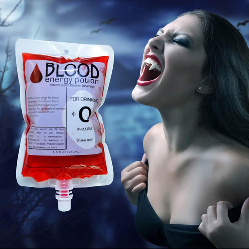 10 Pcs Empty Blood Vampire Spout Bag Halloween Party Supplies Juice Pouches Drinking Spout Pouch Club Bar Cocktail Usage Bags