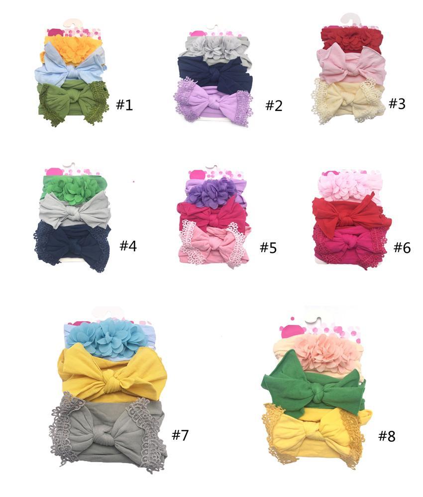 3pcs / set elastische Blumen-Stirnband für Baby-Haar-Accessoires Baby-Bögen Nylon Turban Kinder weicher Baumwolle Stirnband TLE350