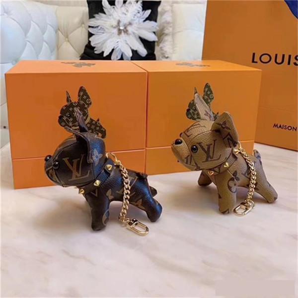 Llavero monedero unisex colgante perro bolsas de diseño Coches anillos de las cadenas clave para las mujeres regalos de las mujeres de tacón de acrílico Llaveros hay boxs