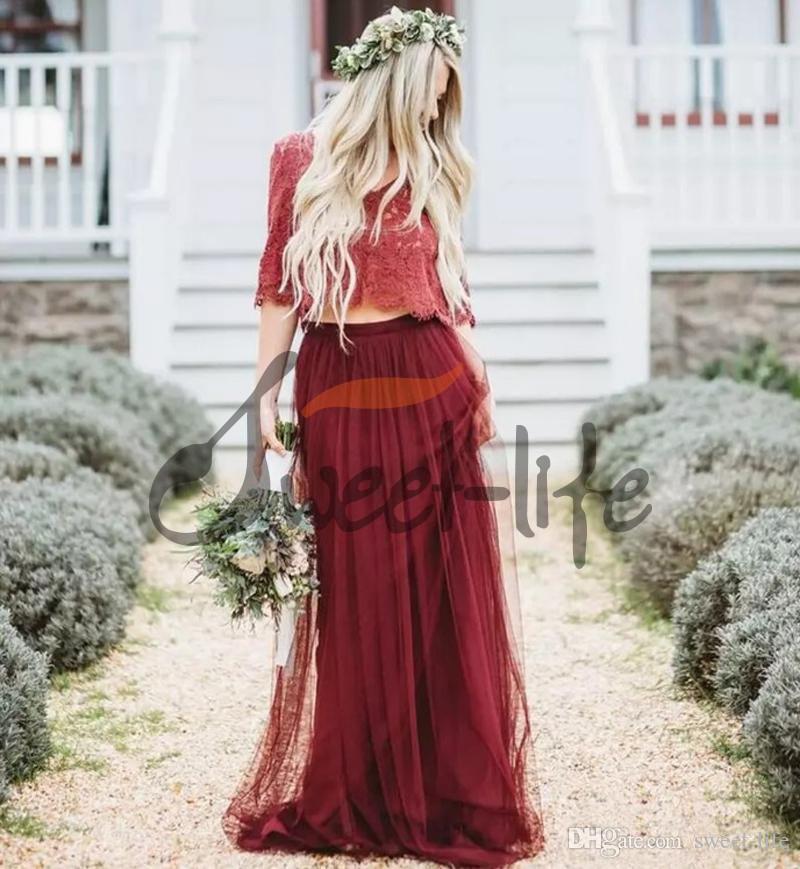2020 Bohemian Dark Red Dress Due Pezzi damigella d'onore lunga con scollo a V mezze maniche in pizzo tulle Maid of Honor Abiti