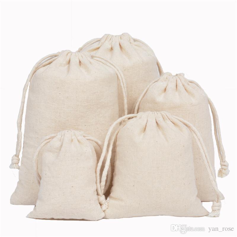 Bolsa con cordón de algodón Bolsas con cordón de lona Bolsas de joyería 100% Algodón natural Titular del favor de la ropa de lavandería Bolsas de joyería de moda