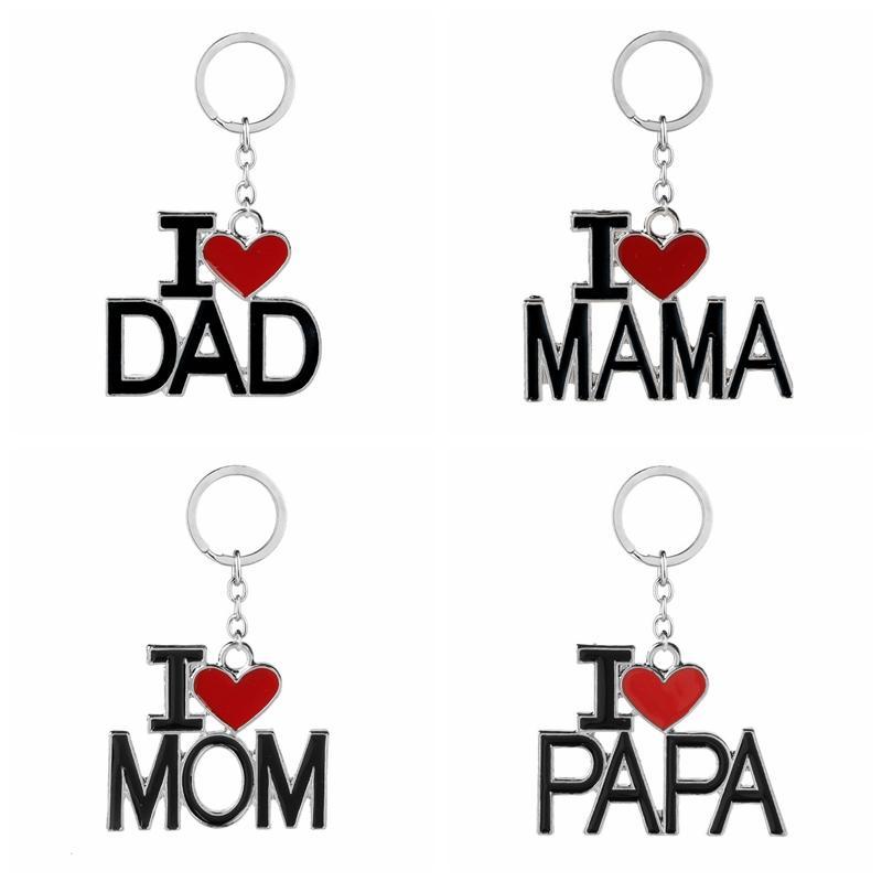 Carta Keychain Inglês Eu amo Mama Papa Mom Dad metal chave anel de família chaveiro para o pai partido presente do dia das Mães favor GGA2711