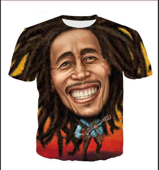 Neueste Art und Weise Mens / Womans Bob Marley-Sommer-Art-T-Shirts 3D-lässig T-Shirt Tops Print Plus Size BB0160