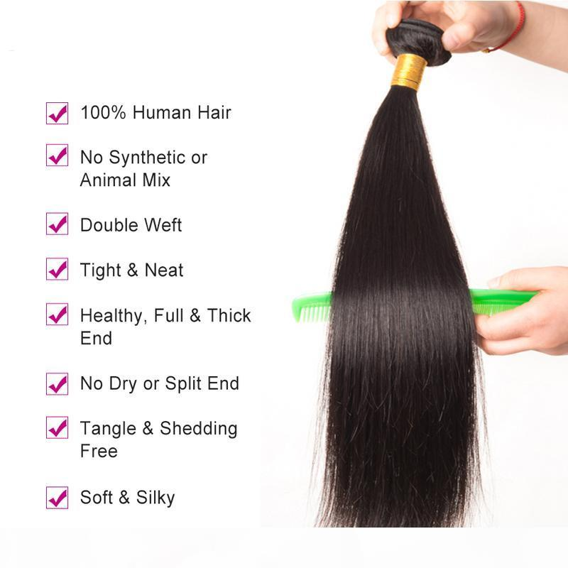 trança virgem mink brasileira Cabelo Humano Pacotes tecendo cor natural sedosa cabelos lisos tramas do cabelo Extensões MOQ 1 PCS
