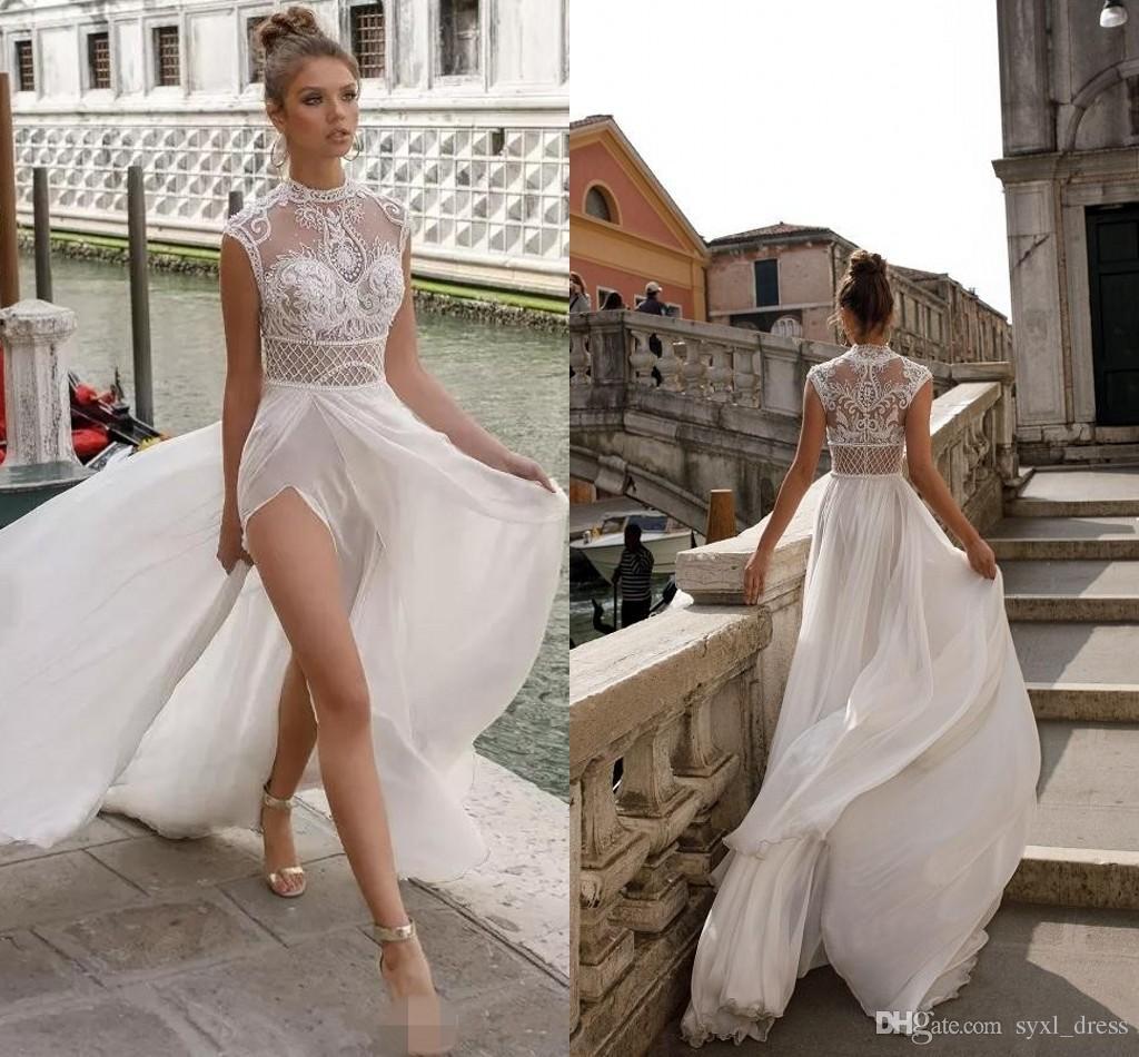 Discount 2019 Julie Vino Plus Size Beach Wedding Dresses A Line High Split  Cheap Deep V Neck Illusion Lace Applique Bridal Gowns Robes Formelles ...