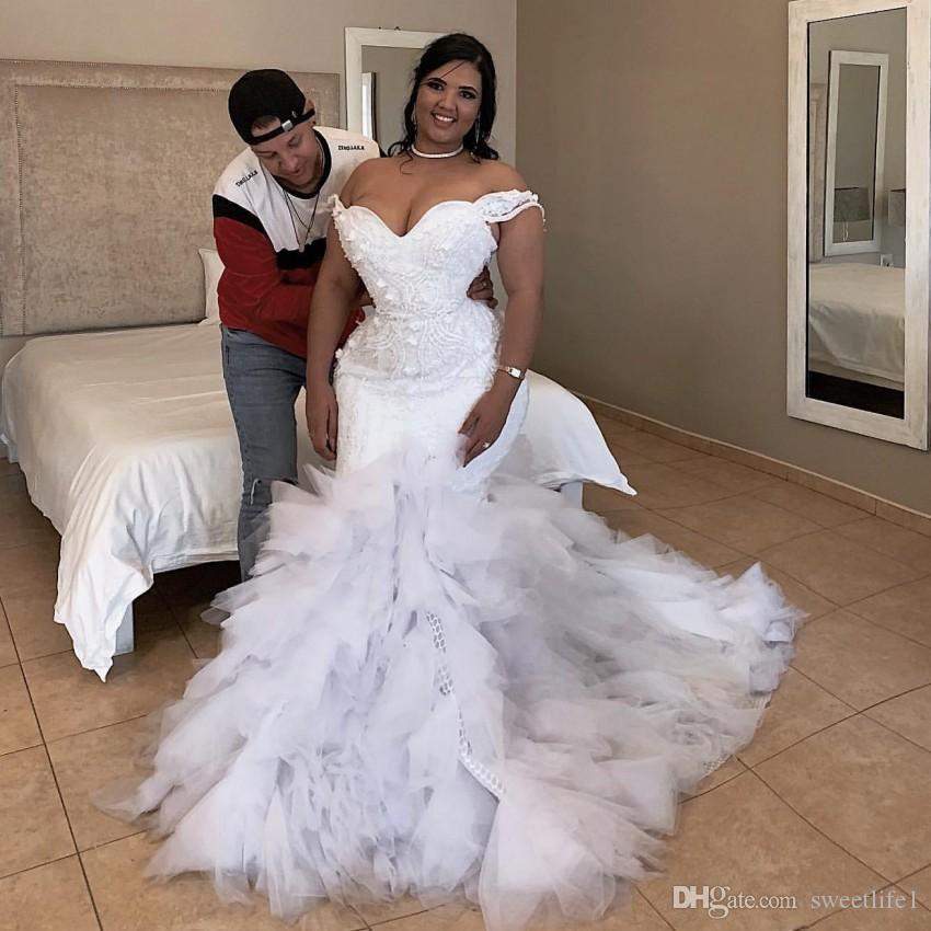 Magníficos vestidos de novia sirena fuera del hombro apliques 3D Sexy vestidos de novia sudafricana Tul Vestidos de boda