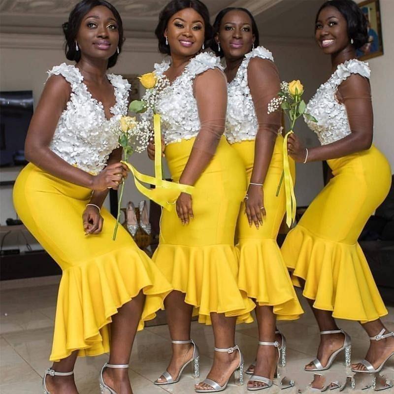 Amarillo corto de dama de honor vestidos de sirena floral 3D Apliques Criada de vestido de las niñas africanas cuello en V manga casquillo del huésped de la boda vestido de AL5506