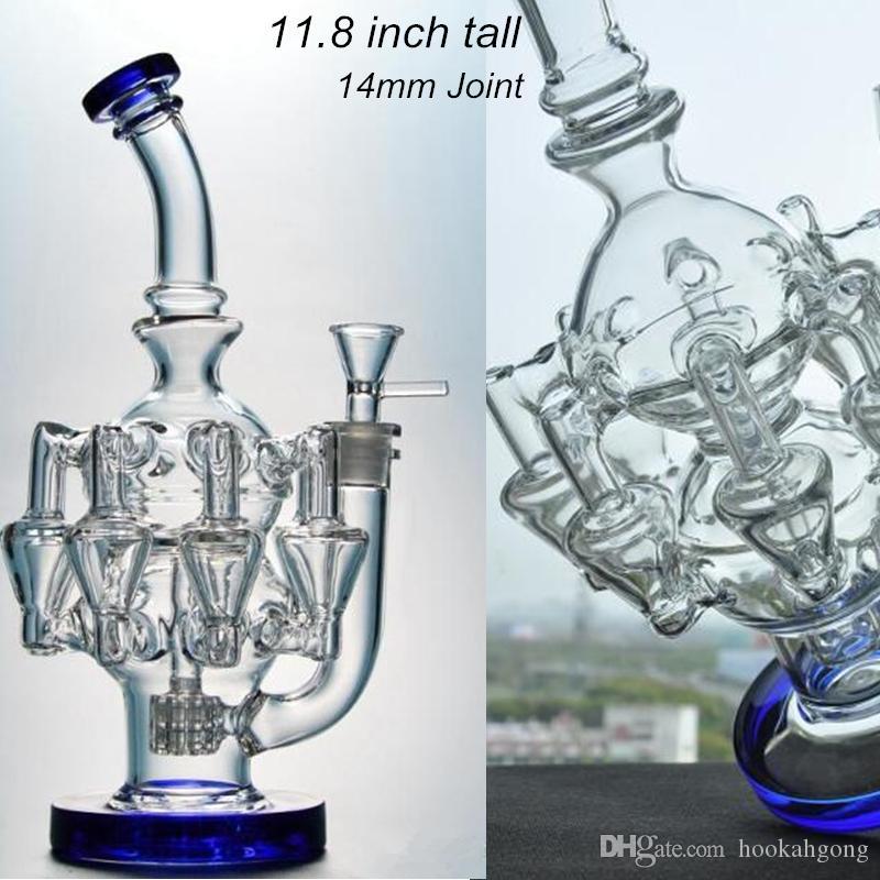 11,8 pouces de verre cool Bongs Matrix perc Tuyaux d'eau recycleur BONG BONG OBTOPUS ARMS DAN Huile Huile Heavalhs Barburateur avec joint 14mm
