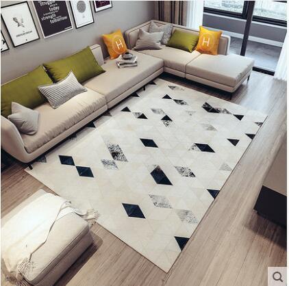 100% vaca Natural tapete de pele para sala de estar de luxo couro com costura tapete geométrica tamanho grande decoração do escritório tapete
