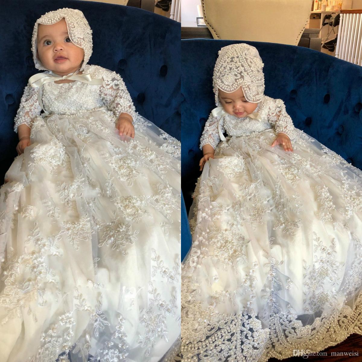 Classy 2019 Long Sleeve Christening Gowns For Baby Girls Lace Appliqued Pearls Baptism Dresses With Bonnet First Communication Dress