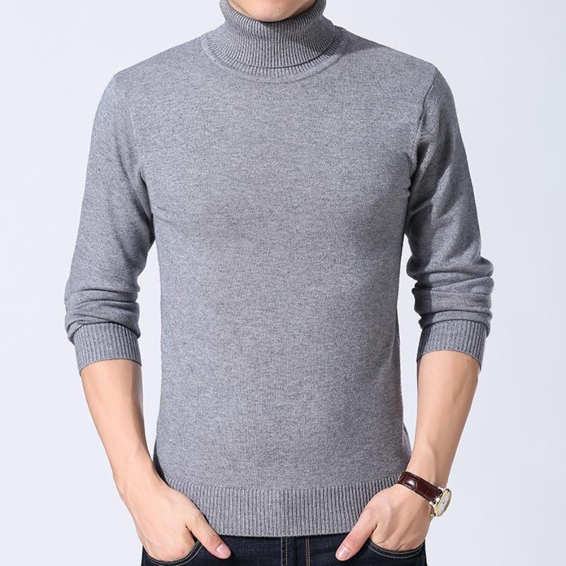 Erkek Örgü Sonbahar Kış Katı Renk Moda Casual BO24101226 için Triko Kazak Temel Turtleneck Tops