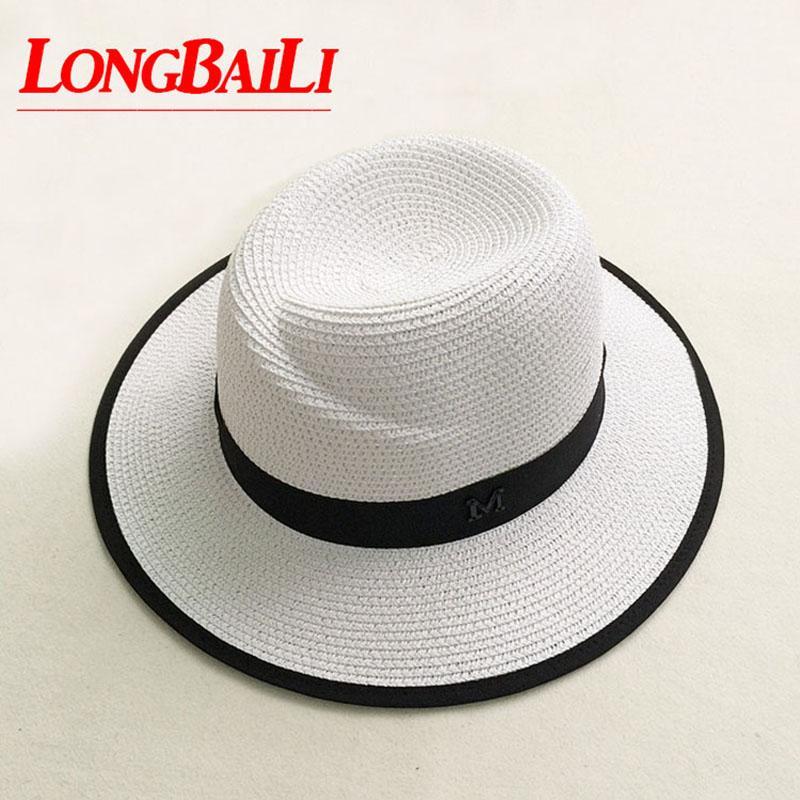 Verano de ala ancha de paja sombrero de ala de blancos para las mujeres forman Sun sombreros de la playa libre del envío SDDS030