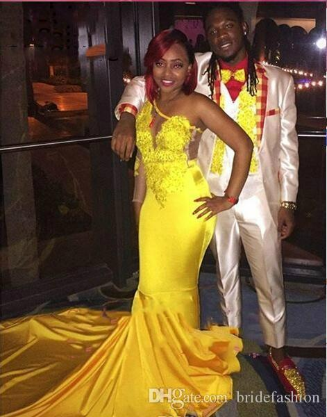 Yellow Color Sexy Cheap Prom Dresses 2019 African Black Girls Mermaid Long Sleeve One Shoulder Evening Party Gowns Plus Size robe de soiree