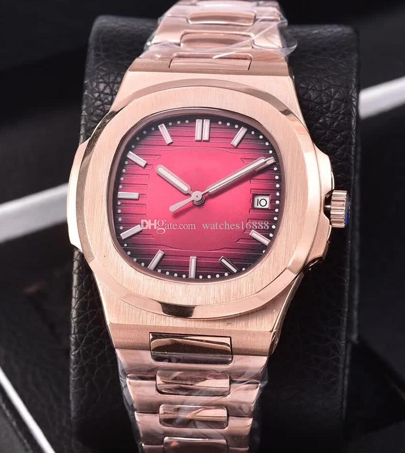 6 색 고급 노틸러스 남성용 시계 5711-1R-001 투명한 백 18k 로즈 골드 자동식 무브먼트 남자 시계