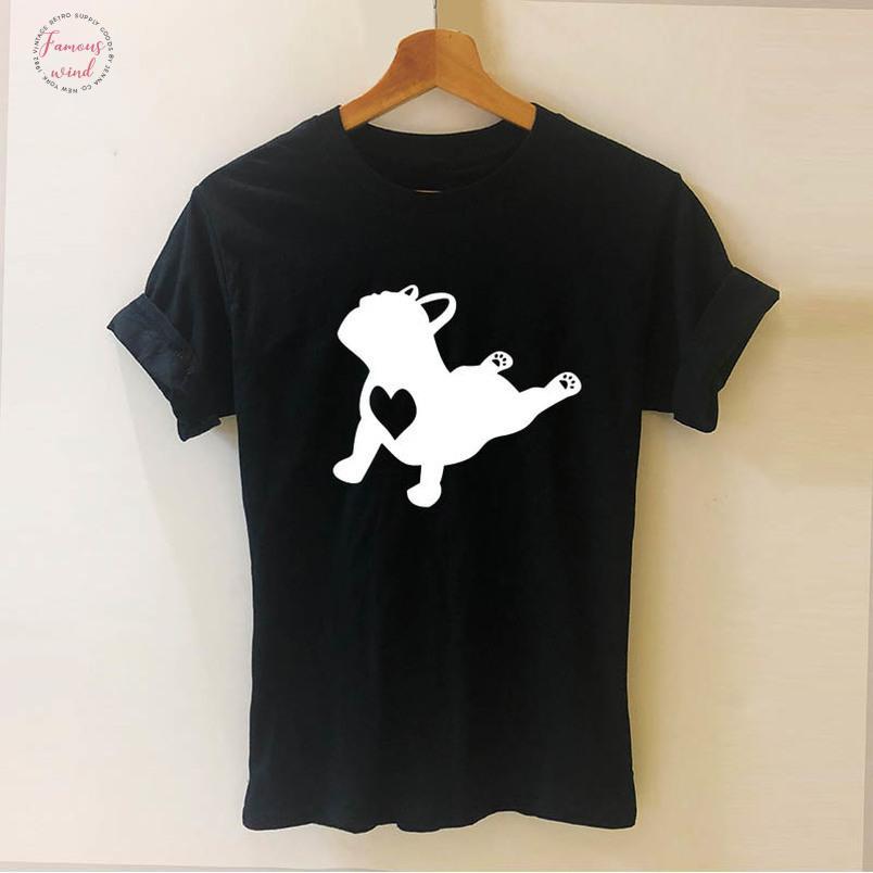 Fransız Bulldog Pose Pet Hayvan Yaz Stili Cooler Tişörtlü Pamuk Kısa Kollu Komik Kadın Tişörtlü Tees Kadın Tişörtü