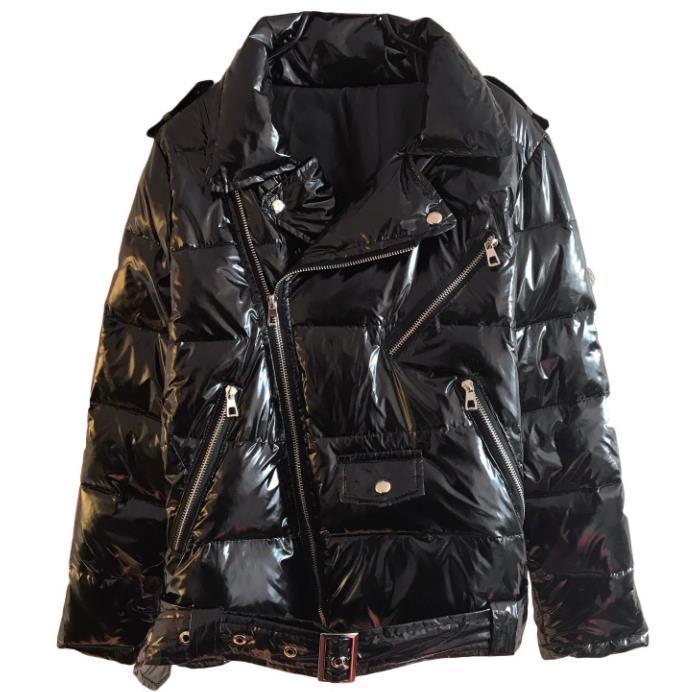 Warm Patent leather Parka Women Black Zipper Jacket women windbreaker Coat 2019 New Winter Glossy Down Parka For Wome